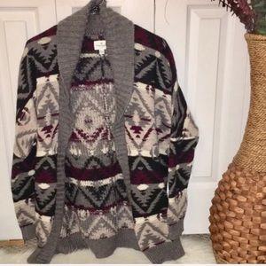 American Eagle Chunky Knit Aztec Grandpa Cardigan
